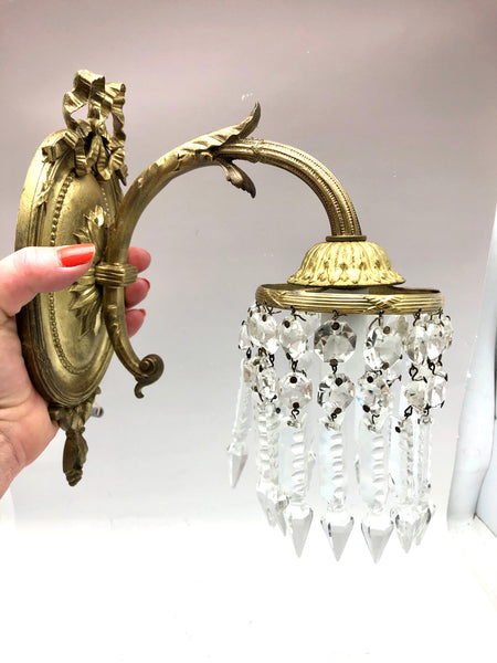 Ormolu Bronze Pair French Prism Sconces