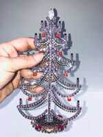 Czech Purple Crystal Mantle Christmas Tree #165