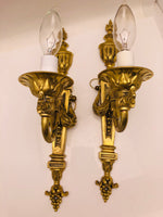 Antique Brass Pair Torchiere Scones
