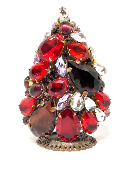 Czech 3D Red Crystal Christmas Tree # 136