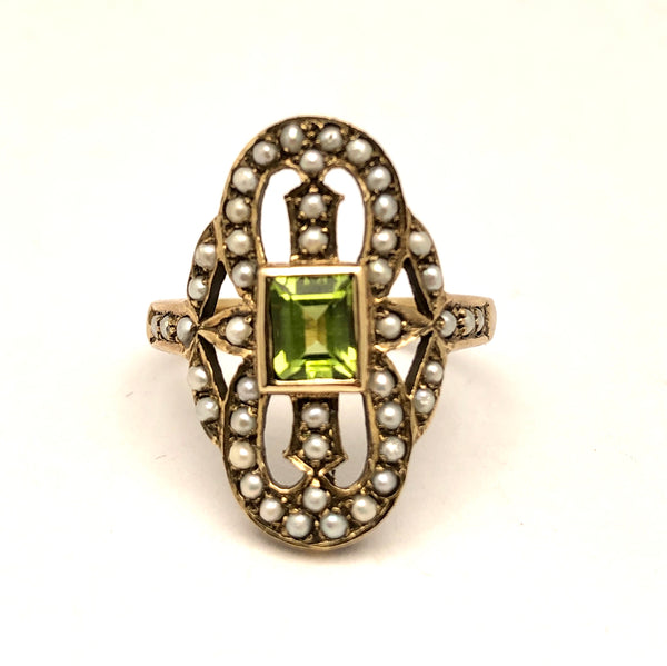 10k English Peridot and Pearl Ring