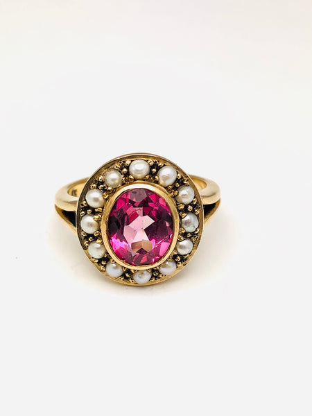 Antique English Pink Tourmaline Pearl Ring