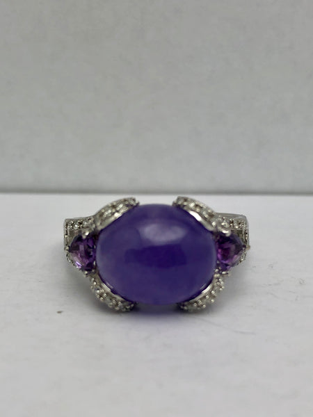 Hand Crafted Jade Cabochon Diamond Amethyst Ring 14KWG