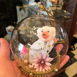 Handblown Staffordshire Spaniel Dog Dome Ornament