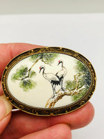 Antique Japanese Ivory Sterling Vermeil Red-Crowned Cranes Brooch