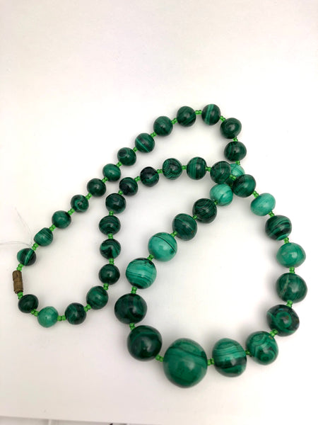 Antique Malachite Bead Necklace 22""