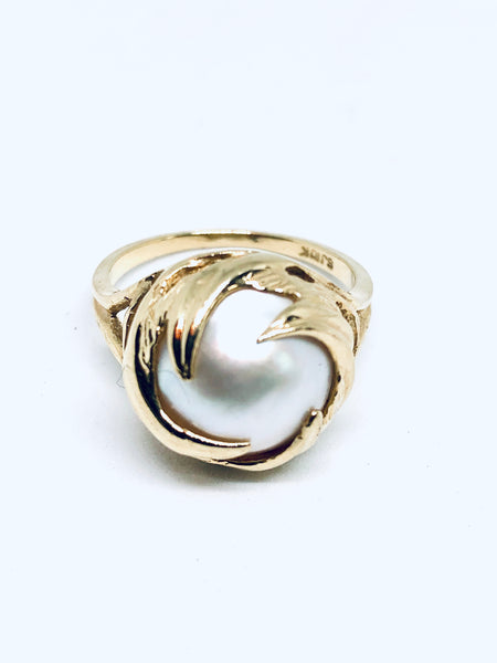 Mobe Pearl Waves Ring 10K