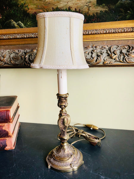 Antique Bronze Candlestick Lamp