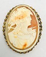 Antique Victorian Shell Cameo 14K Pearls
