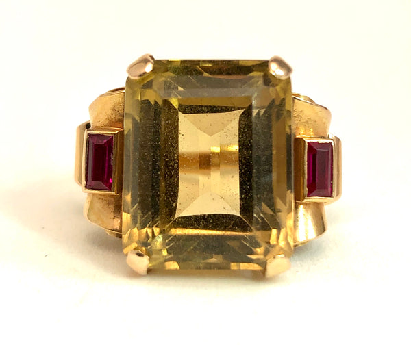 Art Deco Topaz & Ruby 18K Rose Gold Ring