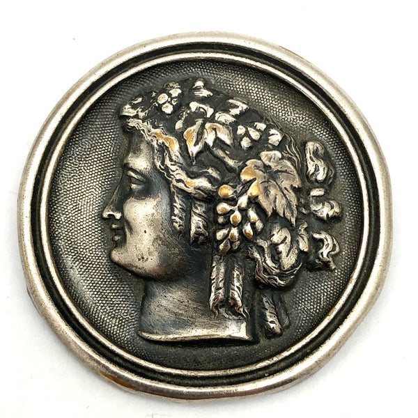 Antique Silver Plated Bacchus Brooch