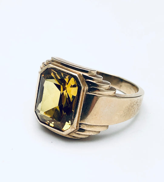 14K Yellow Gold Emerald Cut Citrine Ring