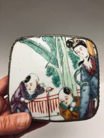 Antique Chinese Porcelain Silver Plate Patch Box