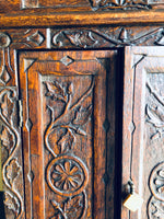 Antique English Hand Carved Spice Wall Cabinet
