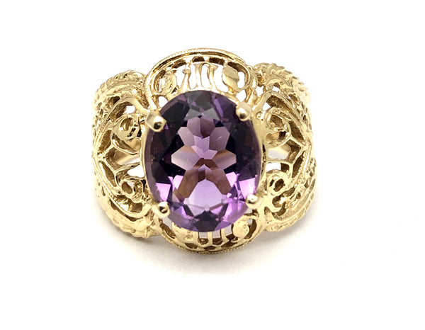 14K YG Oval Amethyst Filigree Ring