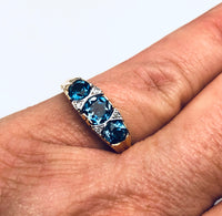 English Blue Topaz Diamond Ring