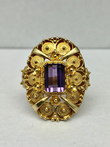 18K YG Antique Byzantine Amethyst Ring