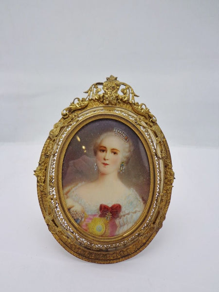 Miniature Ivory Portrait Austrian Royal Ormolu Framed