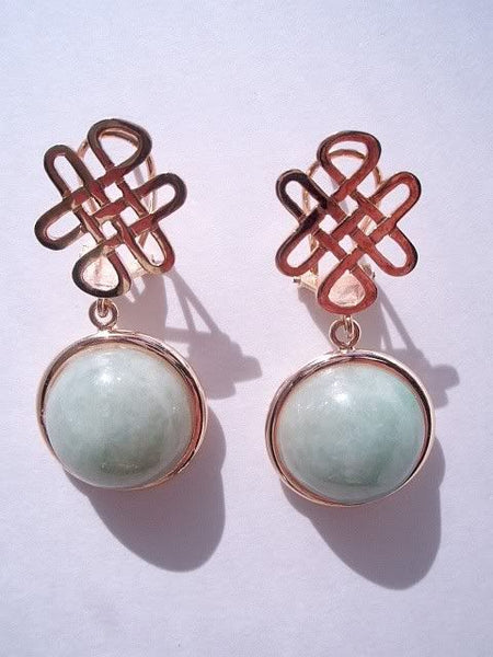 Cabochon Jade Earrings 14K Gold