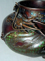 Oriental Bronze High Relief Dragon Jardineer