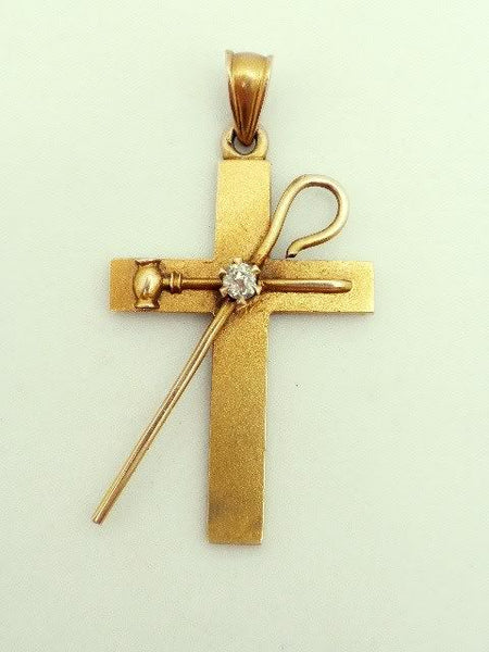 18K Yellow Gold Diamond Cross White Shrine Jerusalem