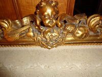 Antique French Gilt Sofa Hand Carved Cherubs