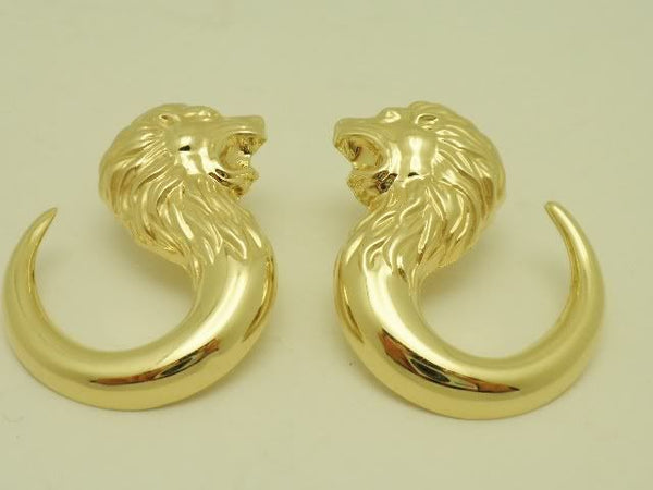 Bassani Designer Lion Earrings 14K Gold Italy
