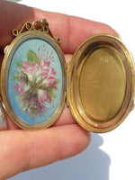 14K Rose and Yellow Gold Antique Locket Handpainted
