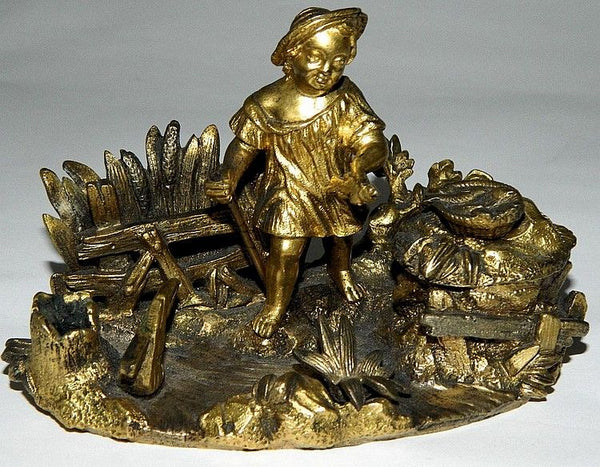 Antique Bronze Figural Inkwell
