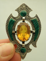 Scottish Sterling Silver Edwardian Malachite Brooch