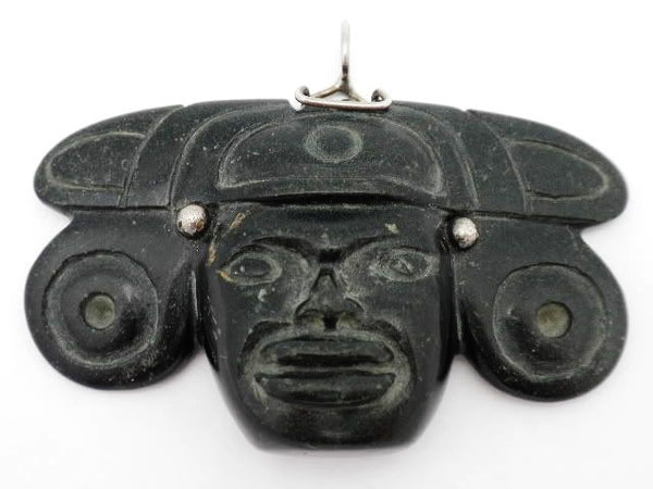 Mayan Hand Carved Stone Sterling Pendant