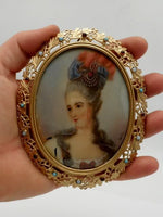 Antique French Portrait Miniature Ivory Madame Pompadour