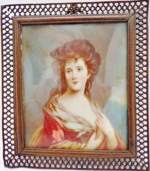 Antique Ivory Miniature Ladies Portrait
