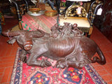 Antique Chinese Huge Hand Carved Wooden Oxen Figure
