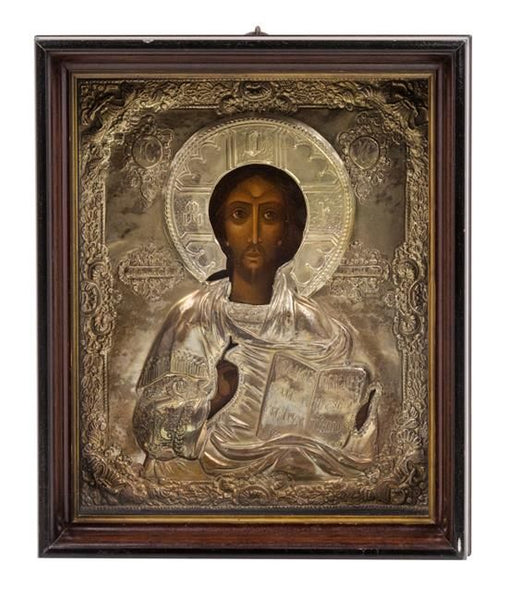 Antique Russian Icon Christ Pantocrator Oklad Framed