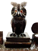 Antique Black Forest Wooden Owl Inkwell