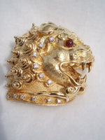 Chinese Fu Lion Foo Dog 18K Gold Brooch Ruby Diamond