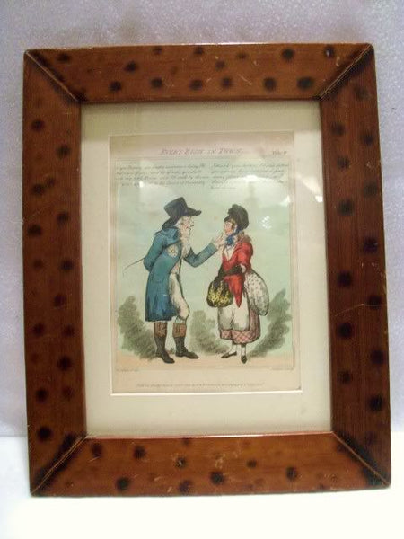 Antique English Hand Colored Etching Period Framed