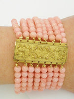 Antique Peach Coral Pinchbeck Bracelet