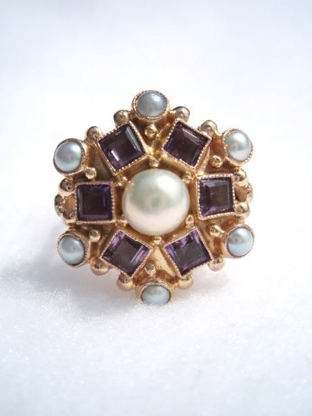 14k Antique Amethyst and Pearl Ring