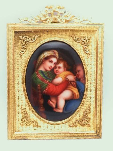 French Ormolu Madonna Of The Chair Porcelain Miniature