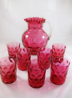 Antique Cranberry Pitcher with 7 Tumblers