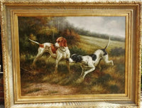Oil Painting Pair Pointer Dogs Hunting Signed