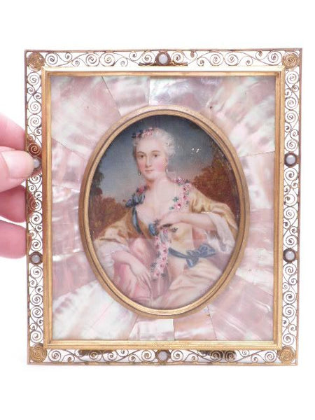 Antique Miniature German Ivory Mother of Pearl Portrait Tischbein
