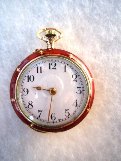 10K Antique Gold Red Enameled Ladies Watch