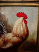 Handpainted Rooster Oil gold right