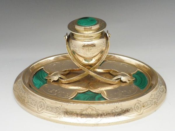 Antique Russian Malachite Inkwell Ormolu