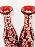 Antique Pair of Ruby Crystal Bohemian Decanters