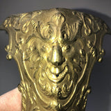 Pair Early French Ormolu Bronze Cabinet Furniture Mounts Caps Original Satyr