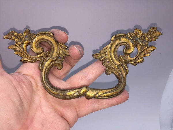 Antique Early French Bronze Ormolu Drawer Cabinet Hardware Pull Handle
